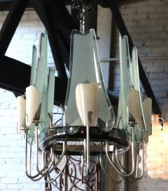 Stilnovo 1950s Italian Metal and Glass Oval Chandelier By Stilnovo - 257855