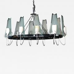 Stilnovo 1950s Italian Metal and Glass Oval Chandelier By Stilnovo - 258123