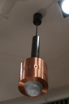 Stilnovo A pair of Metal Copper and Glass pendants by Stilnovo mod 1223 Italy 50 - 1084491
