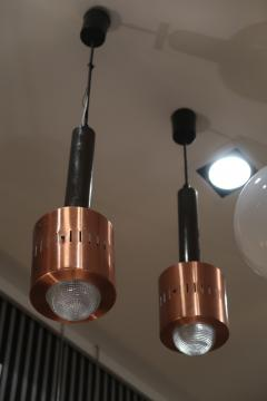 Stilnovo A pair of Metal Copper and Glass pendants by Stilnovo mod 1223 Italy 50 - 1084493