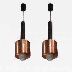 Stilnovo A pair of Metal Copper and Glass pendants by Stilnovo mod 1223 Italy 50 - 1086113