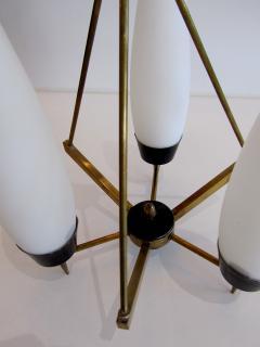 Stilnovo An Italian Modern Brass Glass and Enameled 3 Light Chandelier Stilnovo - 1284696