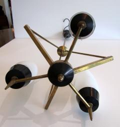 Stilnovo An Italian Modern Brass Glass and Enameled 3 Light Chandelier Stilnovo - 1284698