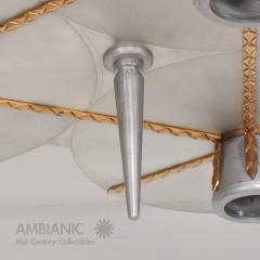 Stilnovo Art DECO Modern Bronze Trinity 3 Light CLUSTER Ceiling Lamp Chandelier 1960s - 1543026