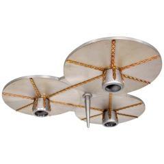 Stilnovo Art DECO Modern Bronze Trinity 3 Light CLUSTER Ceiling Lamp Chandelier 1960s - 1543035
