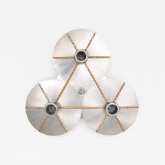 Stilnovo Art DECO Modern Bronze Trinity 3 Light CLUSTER Ceiling Lamp Chandelier 1960s - 1543953