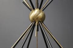 Stilnovo Brass Stilnovo Ceiling Lamp with Six Opal Glass Shades - 1597862