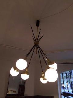 Stilnovo Brass Stilnovo Ceiling Lamp with Six Opal Glass Shades - 1597863