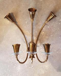 Stilnovo Brass glass mid century modern sconces Stilnovo style a pair - 1734315