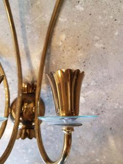 Stilnovo Brass glass mid century modern sconces Stilnovo style a pair - 1734316