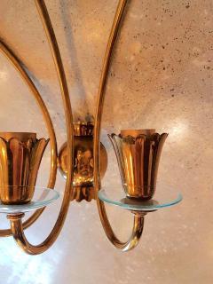 Stilnovo Brass glass mid century modern sconces Stilnovo style a pair - 1734317