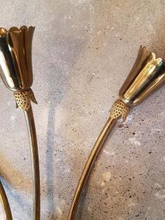 Stilnovo Brass glass mid century modern sconces Stilnovo style a pair - 1734318