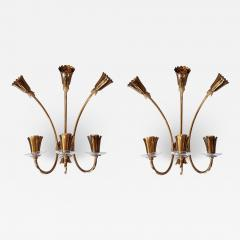 Stilnovo Brass glass mid century modern sconces Stilnovo style a pair - 1734887