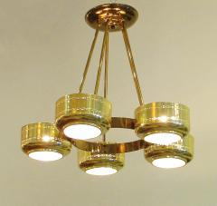 Stilnovo Italian Modern Brass and Bubble Glass Five Light Chandelier - 651125