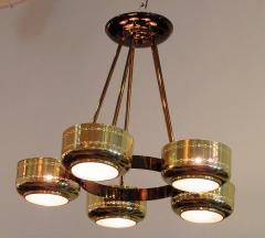 Stilnovo Italian Modern Brass and Bubble Glass Five Light Chandelier - 651126