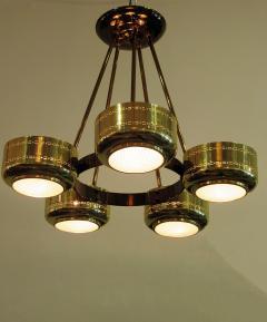 Stilnovo Italian Modern Brass and Bubble Glass Five Light Chandelier - 651127