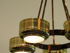 Stilnovo Italian Modern Brass and Bubble Glass Five Light Chandelier - 651128
