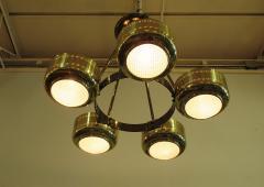 Stilnovo Italian Modern Brass and Bubble Glass Five Light Chandelier - 651129