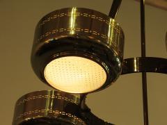 Stilnovo Italian Modern Brass and Bubble Glass Five Light Chandelier - 651132