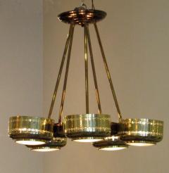 Stilnovo Italian Modern Brass and Bubble Glass Five Light Chandelier - 651134