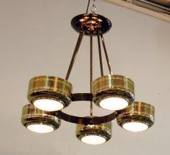 Stilnovo Italian Modern Brass and Bubble Glass Five Light Chandelier - 651139