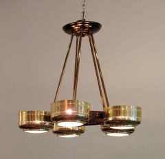 Stilnovo Italian Modern Brass and Bubble Glass Five Light Chandelier - 651140