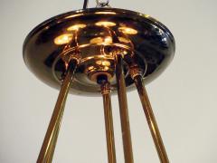 Stilnovo Italian Modern Brass and Bubble Glass Five Light Chandelier - 651141