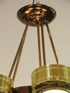 Stilnovo Italian Modern Brass and Bubble Glass Five Light Chandelier - 651142