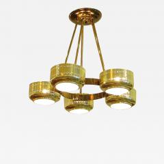 Stilnovo Italian Modern Brass and Bubble Glass Five Light Chandelier - 657040