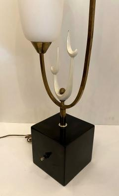 Stilnovo Italian Modern Bronze Enameled Glass Lamp Attributed to Stilnovo - 1832008