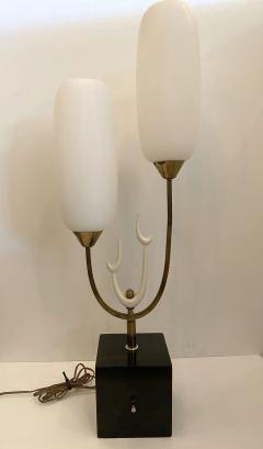 Stilnovo Italian Modern Bronze Enameled Glass Lamp Attributed to Stilnovo - 1832010
