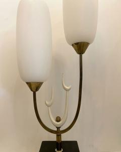 Stilnovo Italian Modern Bronze Enameled Glass Lamp Attributed to Stilnovo - 1832013