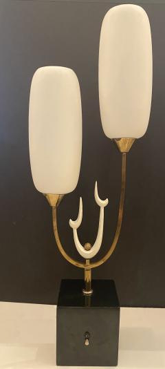 Stilnovo Italian Modern Bronze Enameled Glass Lamp Attributed to Stilnovo - 1836175