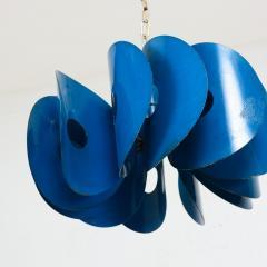 Stilnovo Mid Century Mad AZURE BLUE Hanging Light Fixture ITALY 1960s - 1446083