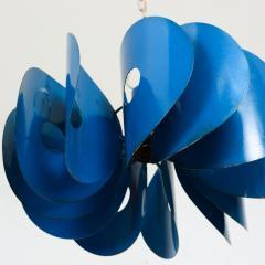 Stilnovo Mid Century Mad AZURE BLUE Hanging Light Fixture ITALY 1960s - 1446084