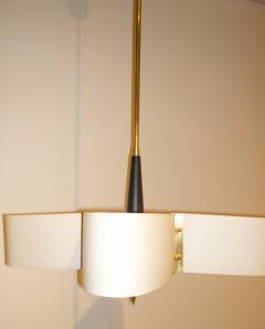 Stilnovo Mid Century Modern Italian Stilnovo Style Glass Brass Enameled Metal Chandelier - 1020362