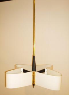 Stilnovo Mid Century Modern Italian Stilnovo Style Glass Brass Enameled Metal Chandelier - 1020365