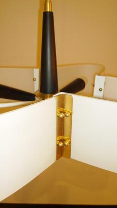 Stilnovo Mid Century Modern Italian Stilnovo Style Glass Brass Enameled Metal Chandelier - 1020368