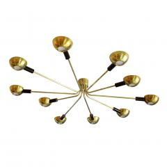 Stilnovo Mid Century Modern by Stilnovo Brass Italian Flush Mounted Ceiling Light - 1046273