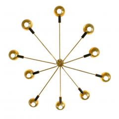 Stilnovo Mid Century Modern by Stilnovo Brass Italian Flush Mounted Ceiling Light - 1046274