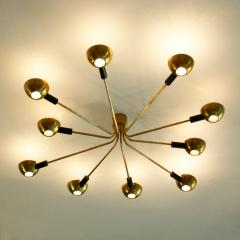 Stilnovo Mid Century Modern by Stilnovo Brass Italian Flush Mounted Ceiling Light - 1046279