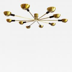 Stilnovo Mid Century Modern by Stilnovo Brass Italian Flush Mounted Ceiling Light - 1091652