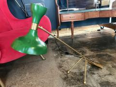 Stilnovo Mid Century Stilnovo Adjustable Green Table Lamp in Brass Italy 1960s - 1070882
