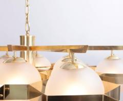 Stilnovo Monumental Brass and Glass Chandelier Attributed to Stilnovo - 550200