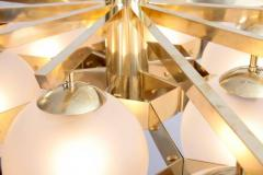 Stilnovo Monumental Brass and Glass Chandelier Attributed to Stilnovo - 550201