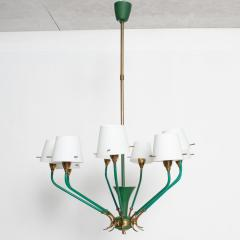 Stilnovo Nine Arm Chandelier Emerald Green Patinated Brass Glass Stilnovo ITALY 1950s - 1680316