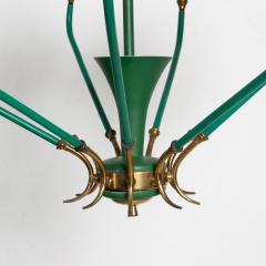 Stilnovo Nine Arm Chandelier Emerald Green Patinated Brass Glass Stilnovo ITALY 1950s - 1680317