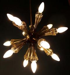 Stilnovo Opal Glass and Brass Chandelier Italy 1950s - 1549046