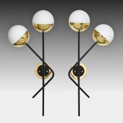 Stilnovo Pair of Modernist Brass and Opaque Glass Sconces by Stilnovo - 2062303