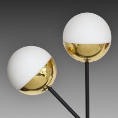 Stilnovo Pair of Modernist Brass and Opaque Glass Sconces by Stilnovo - 2067756